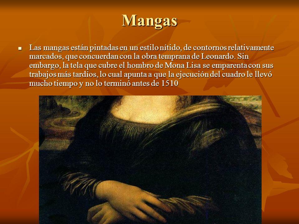 Mangas Las mangas están pintadas en un estilo nítido, de contornos relativamente marcados, que concuerdan con la obra temprana de Leonardo.