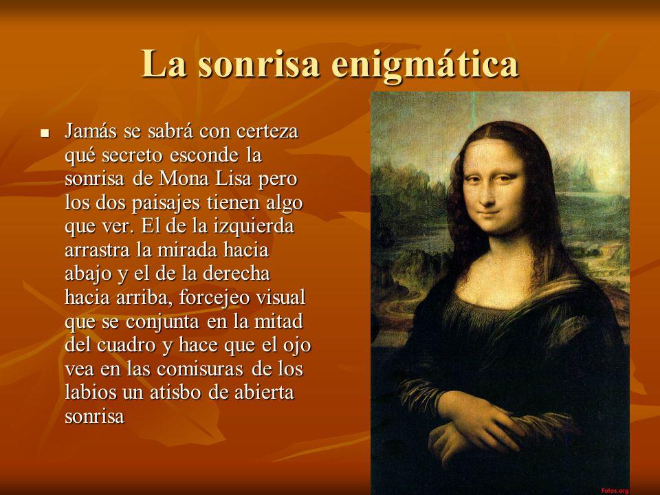 La sonrisa enigmática Jamás se sabrá con certeza qué secreto esconde la sonrisa de Mona Lisa pero los dos paisajes tienen algo que ver.
