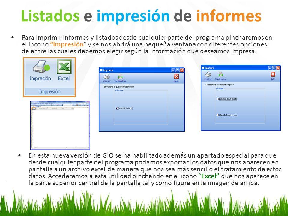 Para imprimir informes y listados desde cualquier parte del programa pincharemos en el incono Impresión y se nos abrirá una pequeña ventana con difere