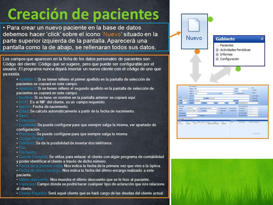 Para crear un nuevo paciente en la base de datos debemos hacer click sobre el icono Nuevo situado en la parte superior izquierda de la pantalla. Apare