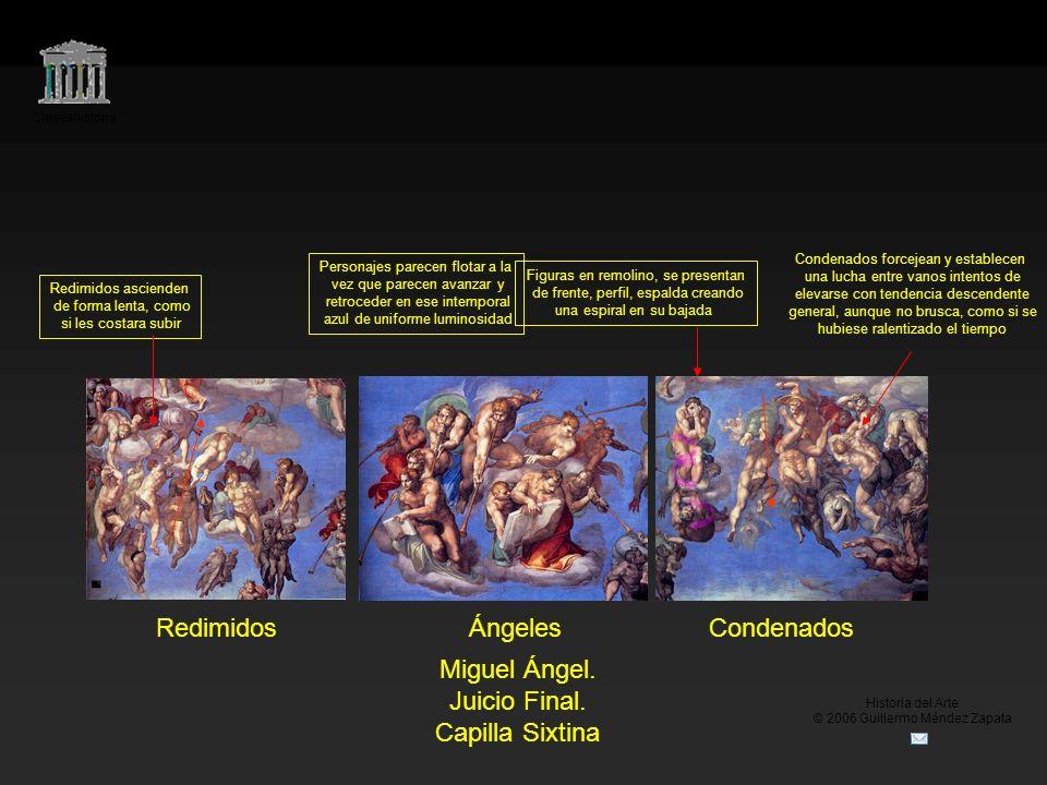 Claseshistoria Historia del Arte © 2006 Guillermo Méndez Zapata RedimidosÁngelesCondenados Miguel Ángel. Juicio Final. Capilla Sixtina Personajes pare