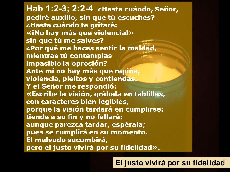 Hab 1:2-3; 2:2-4 ¿Hasta cuándo, Señor, pediré auxilio, sin que tú escuches.