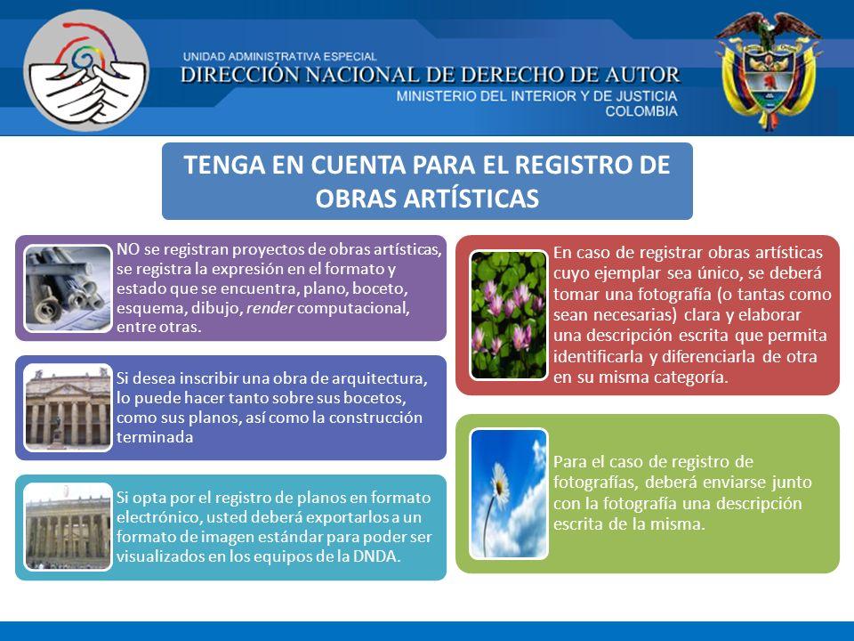 TENGA EN CUENTA PARA EL REGISTRO DE OBRAS ARTÍSTICAS NO se registran proyectos de obras artísticas, se registra la expresión en el formato y estado qu
