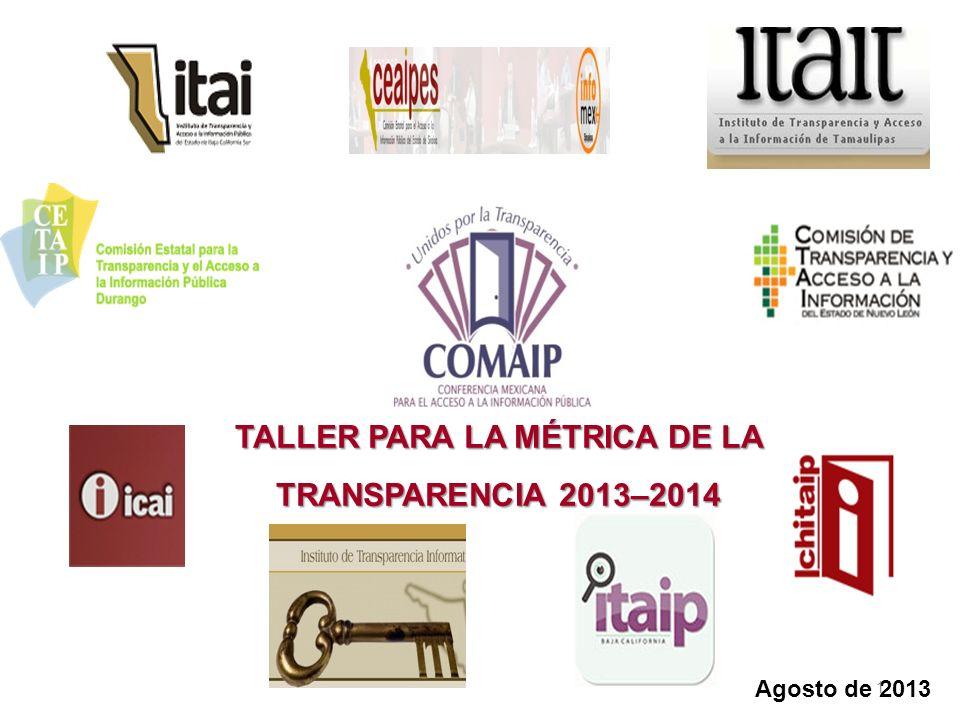 Agosto de 2013 TALLER PARA LA MÉTRICA DE LA TRANSPARENCIA 2013–2014 1
