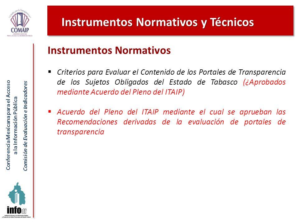 Conferencia Mexicana para el Acceso a la Información Pública Comisión de Evaluación e Indicadores Instrumentos Normativos Criterios para Evaluar el Co