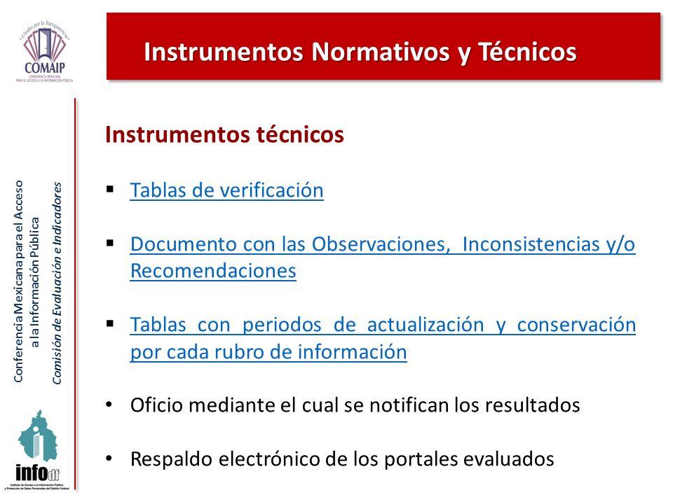 Conferencia Mexicana para el Acceso a la Información Pública Comisión de Evaluación e Indicadores Instrumentos técnicos Tablas de verificación Documen