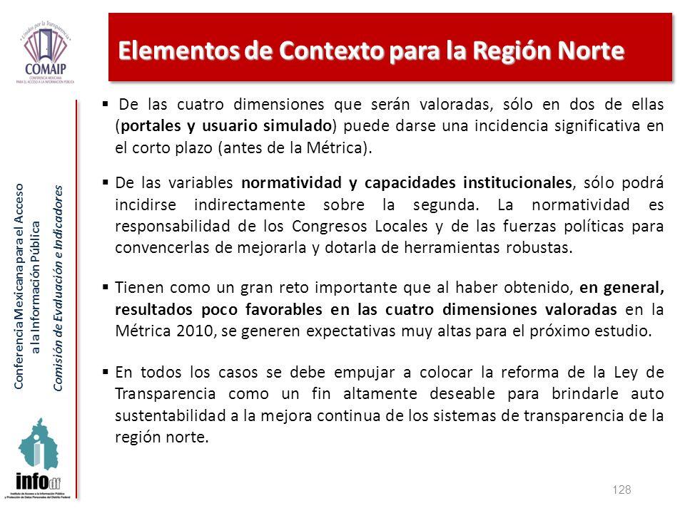 Conferencia Mexicana para el Acceso a la Información Pública Comisión de Evaluación e Indicadores Elementos de Contexto para la Región Norte 128 De la