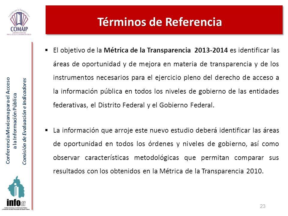 Conferencia Mexicana para el Acceso a la Información Pública Comisión de Evaluación e Indicadores Términos de Referencia El objetivo de la Métrica de