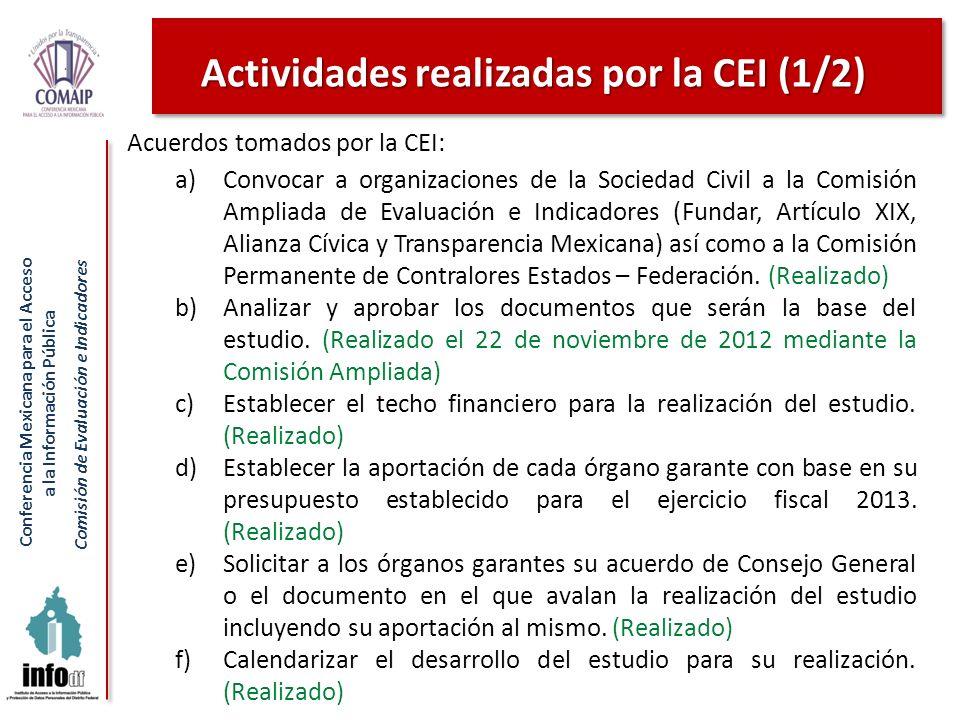 Conferencia Mexicana para el Acceso a la Información Pública Comisión de Evaluación e Indicadores Acuerdos tomados por la CEI: a)Convocar a organizaci