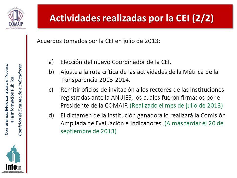 Conferencia Mexicana para el Acceso a la Información Pública Comisión de Evaluación e Indicadores Acuerdos tomados por la CEI en julio de 2013: a)Elec