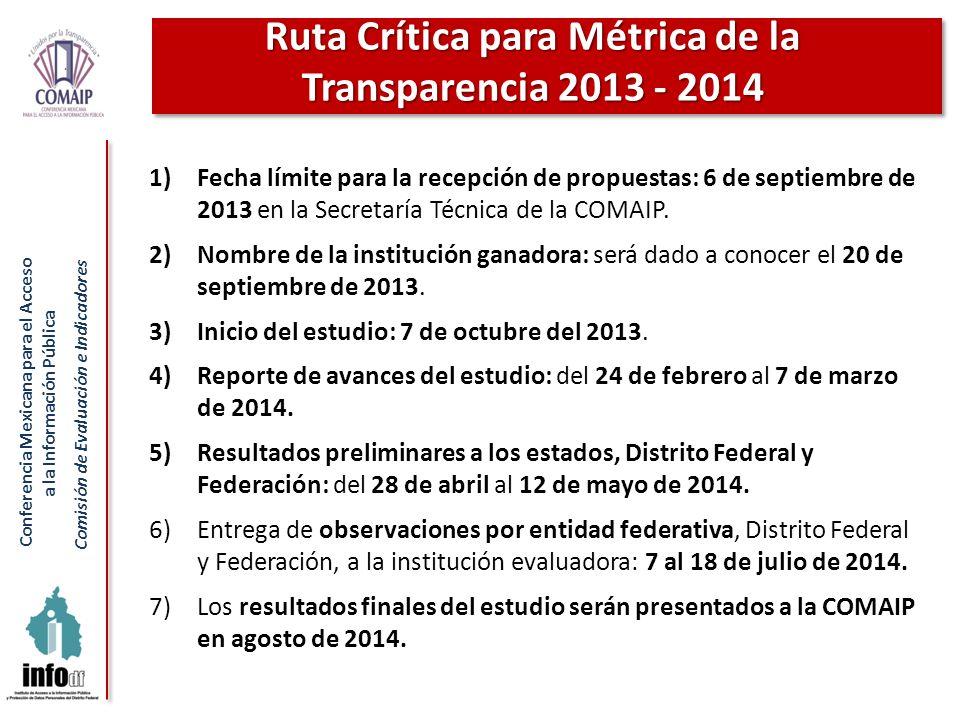 Conferencia Mexicana para el Acceso a la Información Pública Comisión de Evaluación e Indicadores 1)Fecha límite para la recepción de propuestas: 6 de