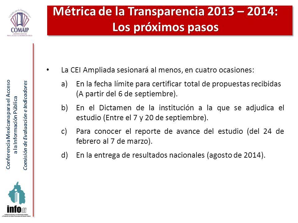 Conferencia Mexicana para el Acceso a la Información Pública Comisión de Evaluación e Indicadores La CEI Ampliada sesionará al menos, en cuatro ocasio