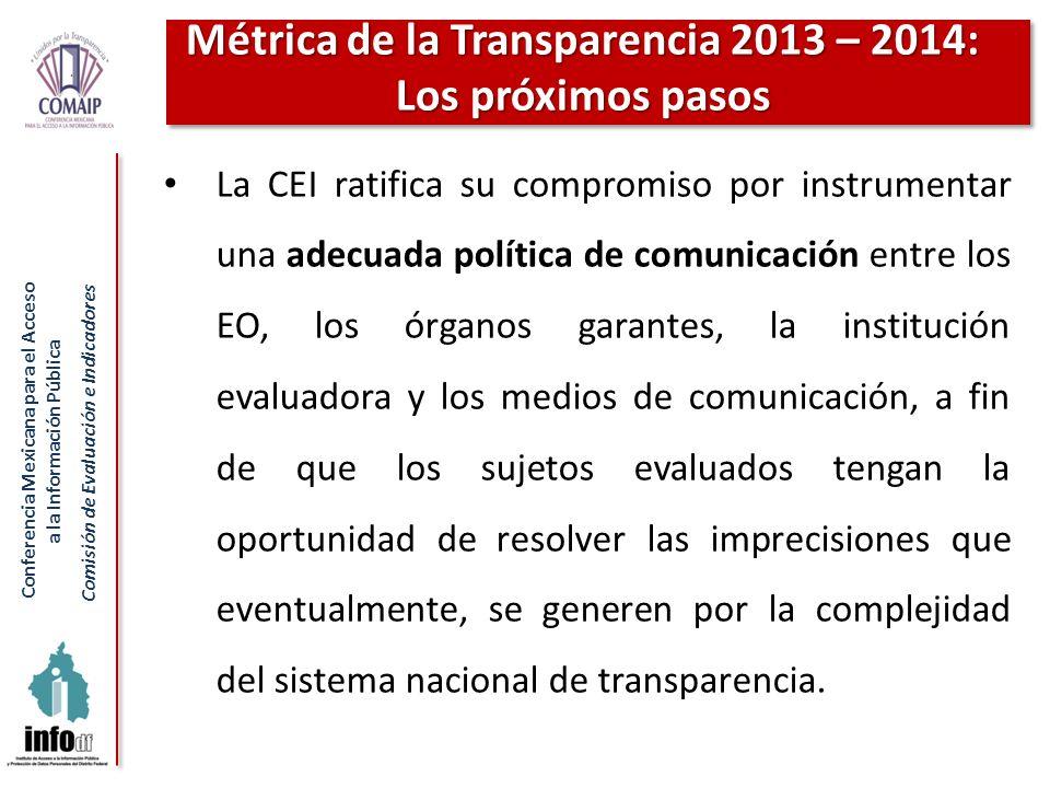 Conferencia Mexicana para el Acceso a la Información Pública Comisión de Evaluación e Indicadores La CEI ratifica su compromiso por instrumentar una a