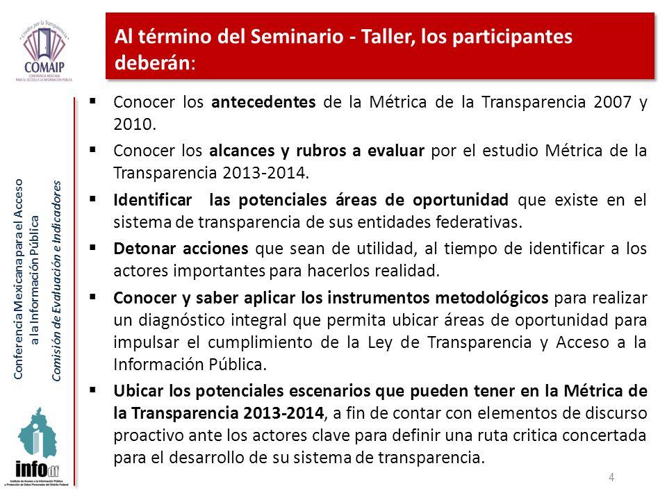 Conferencia Mexicana para el Acceso a la Información Pública Comisión de Evaluación e Indicadores La transparencia se ejercía con dificultades en la mayor parte del territorio nacional, por lo que NO alcanza un nivel satisfactorio.
