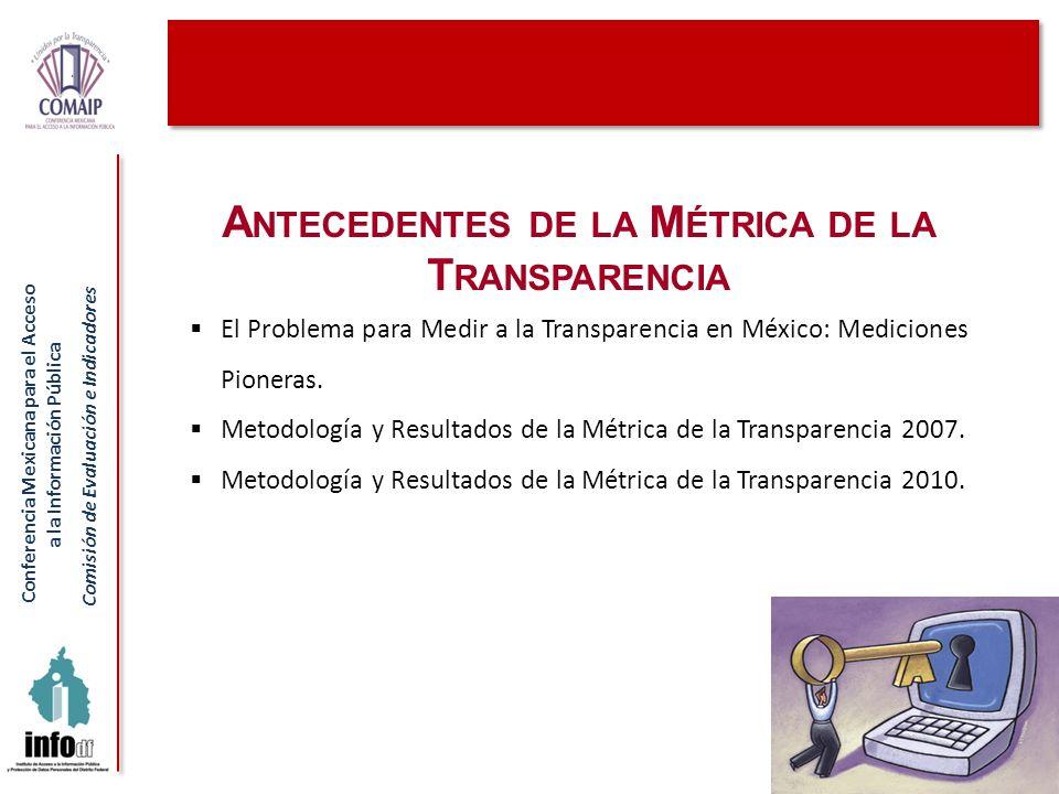 Conferencia Mexicana para el Acceso a la Información Pública Comisión de Evaluación e Indicadores Métrica 2010: Metodología Dar continuidad al ejercicio de medición auspiciado por la propia COMAIP en 2007.