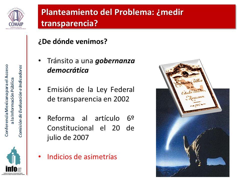 Conferencia Mexicana para el Acceso a la Información Pública Comisión de Evaluación e Indicadores Planteamiento del Problema: ¿medir transparencia? 6