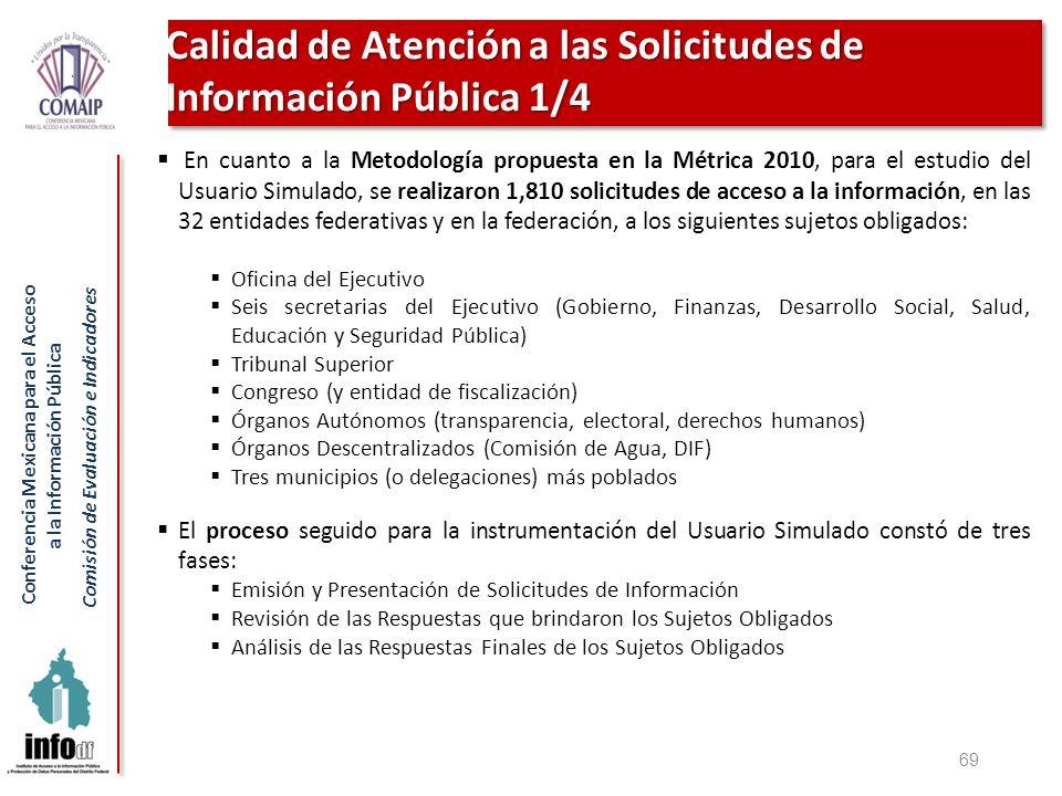 Conferencia Mexicana para el Acceso a la Información Pública Comisión de Evaluación e Indicadores 69 Calidad de Atención a las Solicitudes de Informac