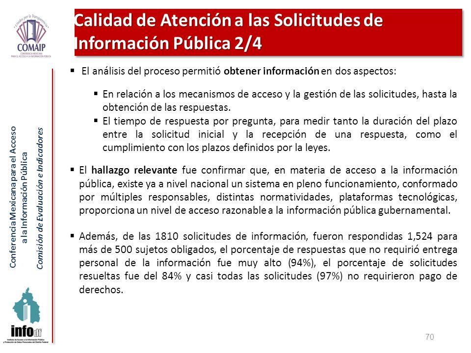 Conferencia Mexicana para el Acceso a la Información Pública Comisión de Evaluación e Indicadores 70 El análisis del proceso permitió obtener informac