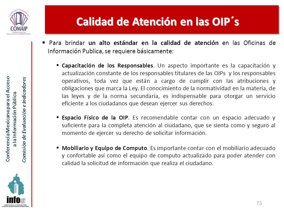 Conferencia Mexicana para el Acceso a la Información Pública Comisión de Evaluación e Indicadores Calidad de Atención en las OIP´s 73 Para brindar un