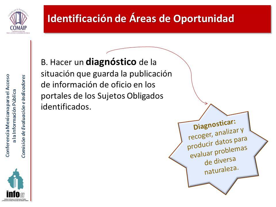 Conferencia Mexicana para el Acceso a la Información Pública Comisión de Evaluación e Indicadores Identificación de Áreas de Oportunidad B. Hacer un d