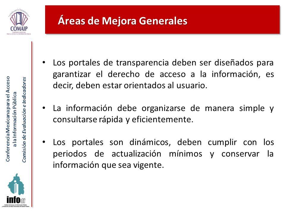 Conferencia Mexicana para el Acceso a la Información Pública Comisión de Evaluación e Indicadores Áreas de Mejora Generales Los portales de transparen