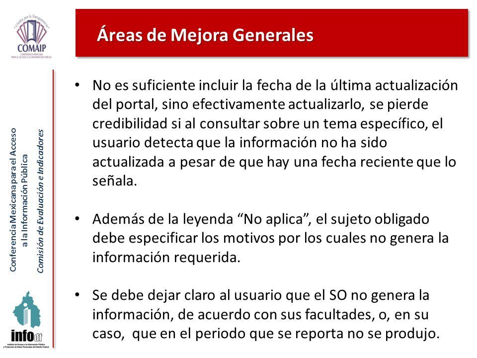 Conferencia Mexicana para el Acceso a la Información Pública Comisión de Evaluación e Indicadores No es suficiente incluir la fecha de la última actua