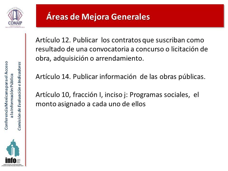 Conferencia Mexicana para el Acceso a la Información Pública Comisión de Evaluación e Indicadores Artículo 12. Publicar los contratos que suscriban co