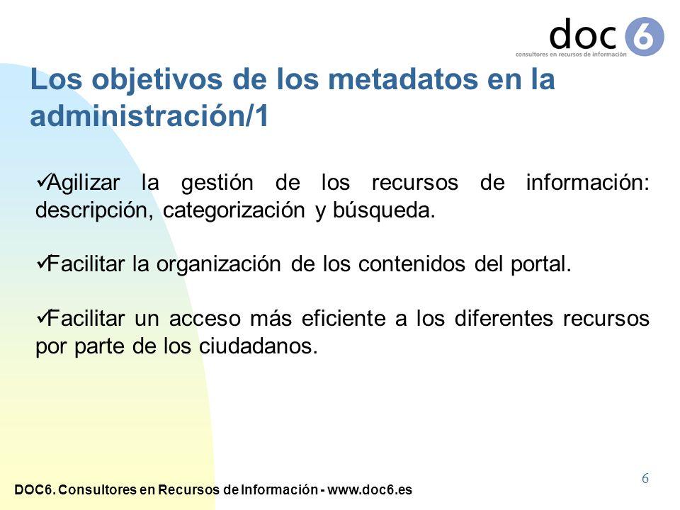 DOC6. Consultores en Recursos de Información - www.doc6.es Agilizar la gestión de los recursos de información: descripción, categorización y búsqueda.