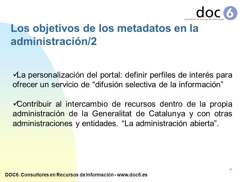 DOC6. Consultores en Recursos de Información - www.doc6.es La personalización del portal: definir perfiles de interés para ofrecer un servicio de difu