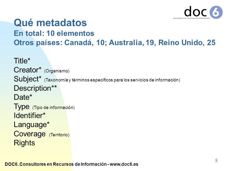 DOC6. Consultores en Recursos de Información - www.doc6.es Qué metadatos En total: 10 elementos Otros países: Canadá, 10; Australia, 19, Reino Unido,