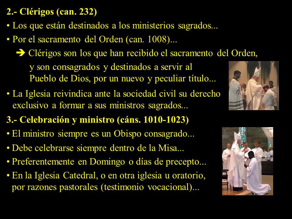 2.- Clérigos (can.232) Los que están destinados a los ministerios sagrados...