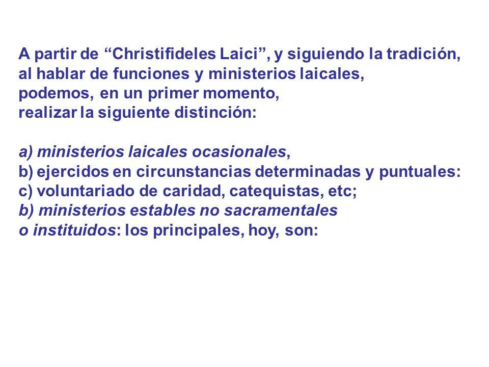 A partir de Christifideles Laici, y siguiendo la tradición, al hablar de funciones y ministerios laicales, podemos, en un primer momento, realizar la