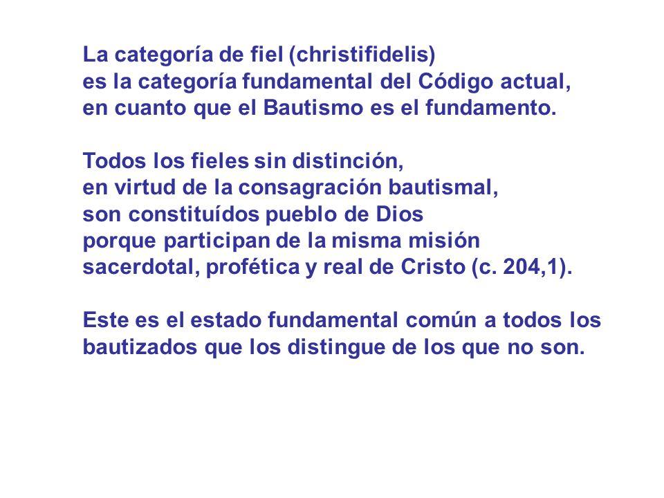 La categoría de fiel (christifidelis) es la categoría fundamental del Código actual, en cuanto que el Bautismo es el fundamento. Todos los fieles sin