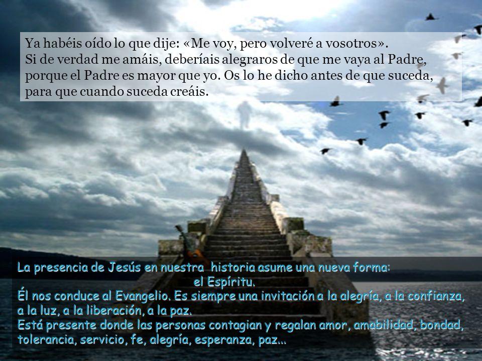 Os dejo la paz, os doy mi propia paz. Una paz que el mundo no os puede dar. No os inquietéis ni tengáis miedo. A la promesa del Espíritu Jesús añade e