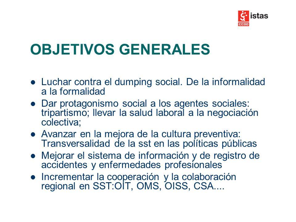 OBJETIVOS GENERALES Luchar contra el dumping social.