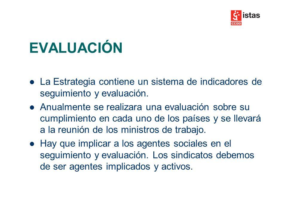 EVALUACIÓN La Estrategia contiene un sistema de indicadores de seguimiento y evaluación.