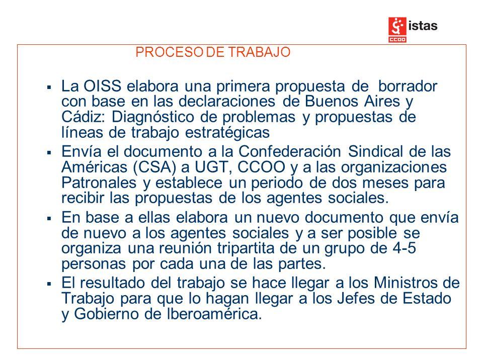 PROCESO DE TRABAJO SE CREA UN GRUPO DE TRABAJO SINDICAL FORMADO POR 2-3 PERSONAS DE CADA UNA DE LAS SUBREGIONES (Comunidad Andina, Cono Sur, Centroamérica y Caribe), los sindicatos españoles UGT y Comisiones Obrera y la dirección de la CSA.