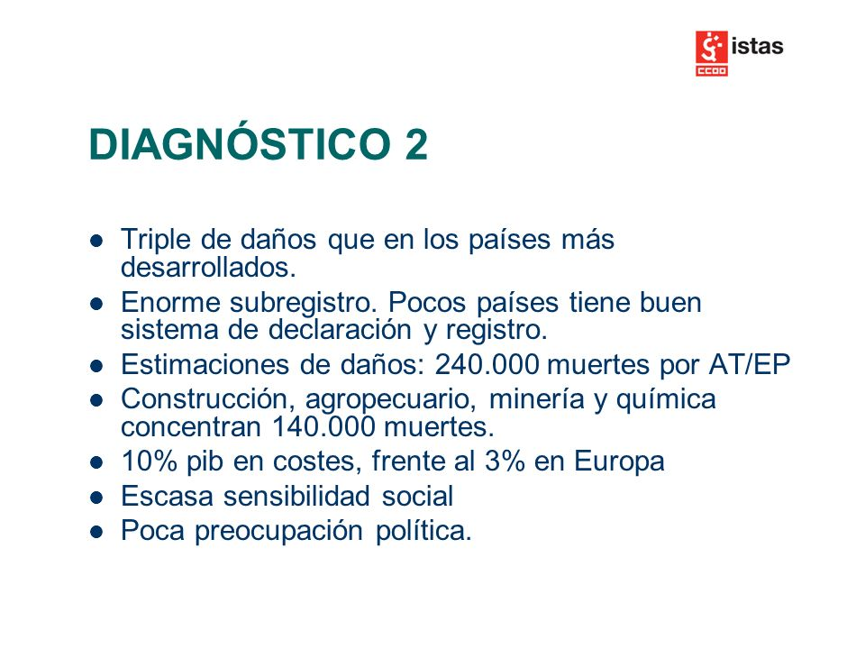 DIAGNÓSTICO 2 Triple de daños que en los países más desarrollados.