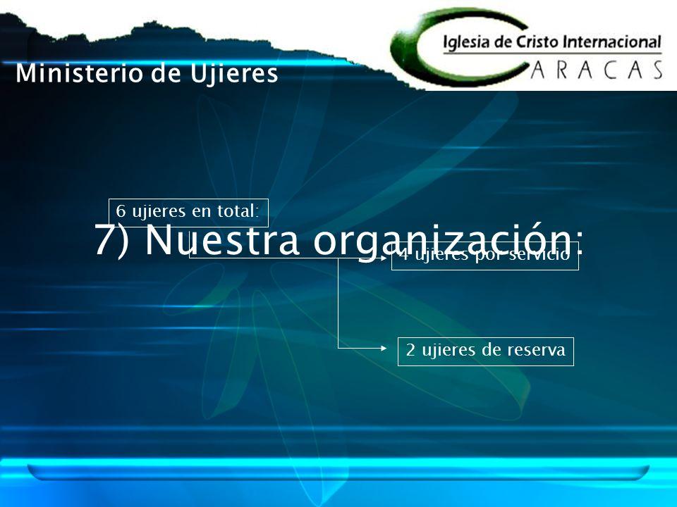 7) Nuestra organización: 6 ujieres en total: 4 ujieres por servicio 2 ujieres de reserva Ministerio de Ujieres