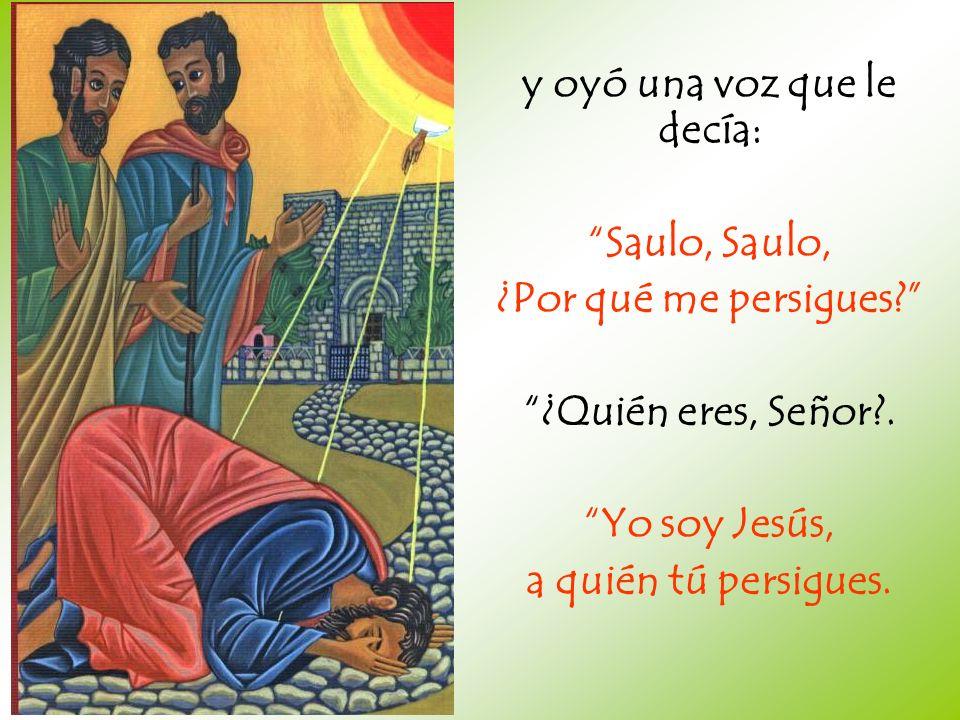 y oyó una voz que le decía: Saulo, ¿Por qué me persigues? ¿Quién eres, Señor?. Yo soy Jesús, a quién tú persigues.