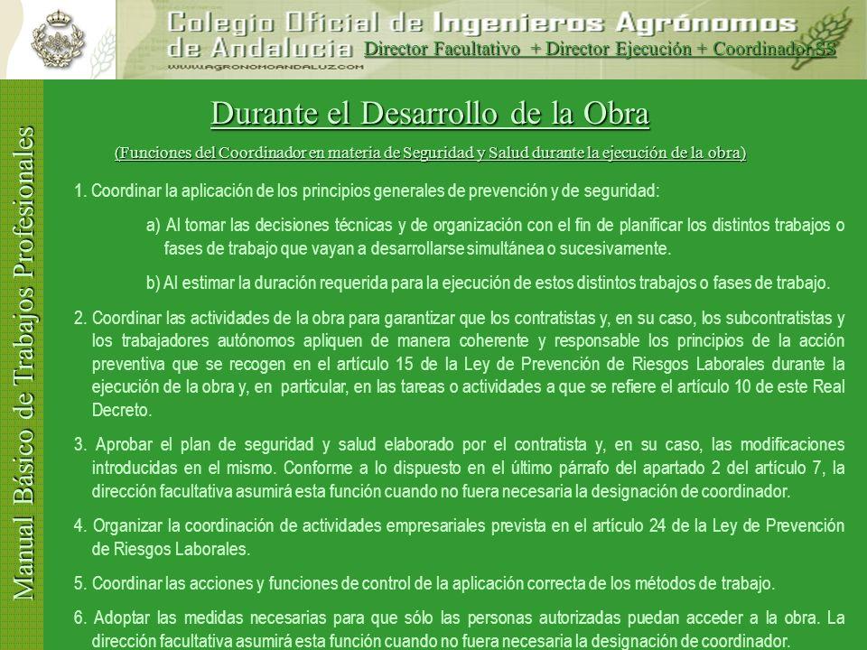 Manual Básico de Trabajos Profesionales Durante el Desarrollo de la Obra (Funciones del Director de Ejecución de Obras) 1.Verificar la recepción en ob