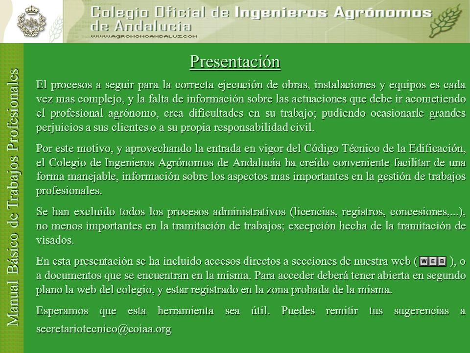 Manual Básico de Trabajos Profesionales Presentación Contrato Contratación Tipos Trabajo Normas VisadoTarifasSolicitud Visado Incidencias Visado Proye
