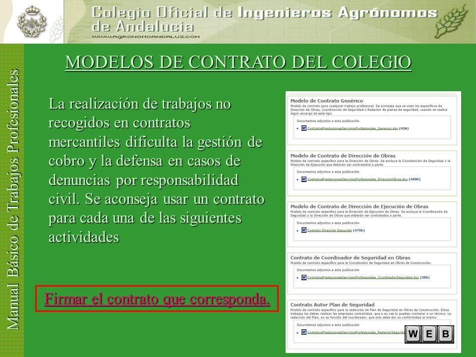 Manual Básico de Trabajos Profesionales El encargo profesional ¿está recogido en un contrato? El encargo profesional ¿está recogido en un contrato? SI