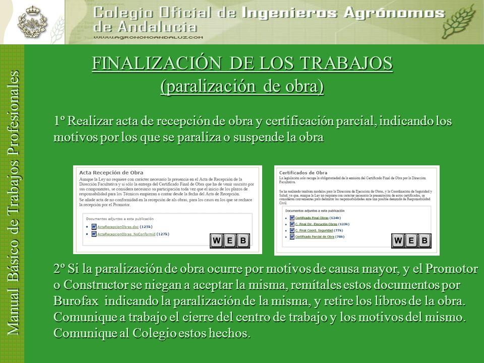 Manual Básico de Trabajos Profesionales FINALIZACIÓN DE LOS TRABAJOS (II) 2º Visar el Certificado Final de Obra, adjuntando (CTE): 2º Visar el Certifi