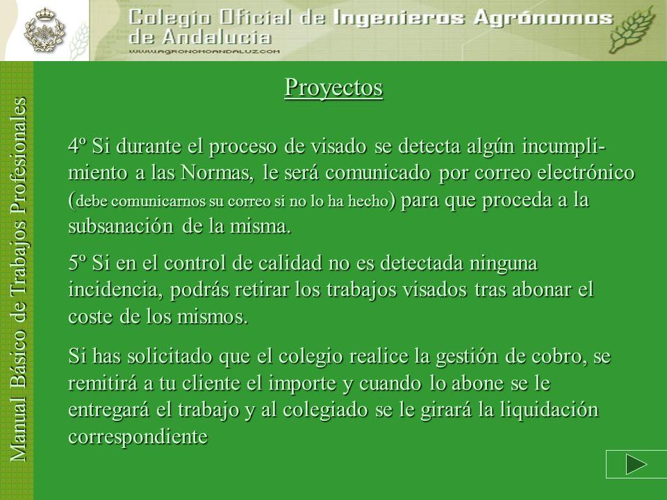 Manual Básico de Trabajos Profesionales Proyectos 1º Verifique el cumplimiento de las Normas de Visado Normas de VisadoNormas de Visado 2º Si desea co