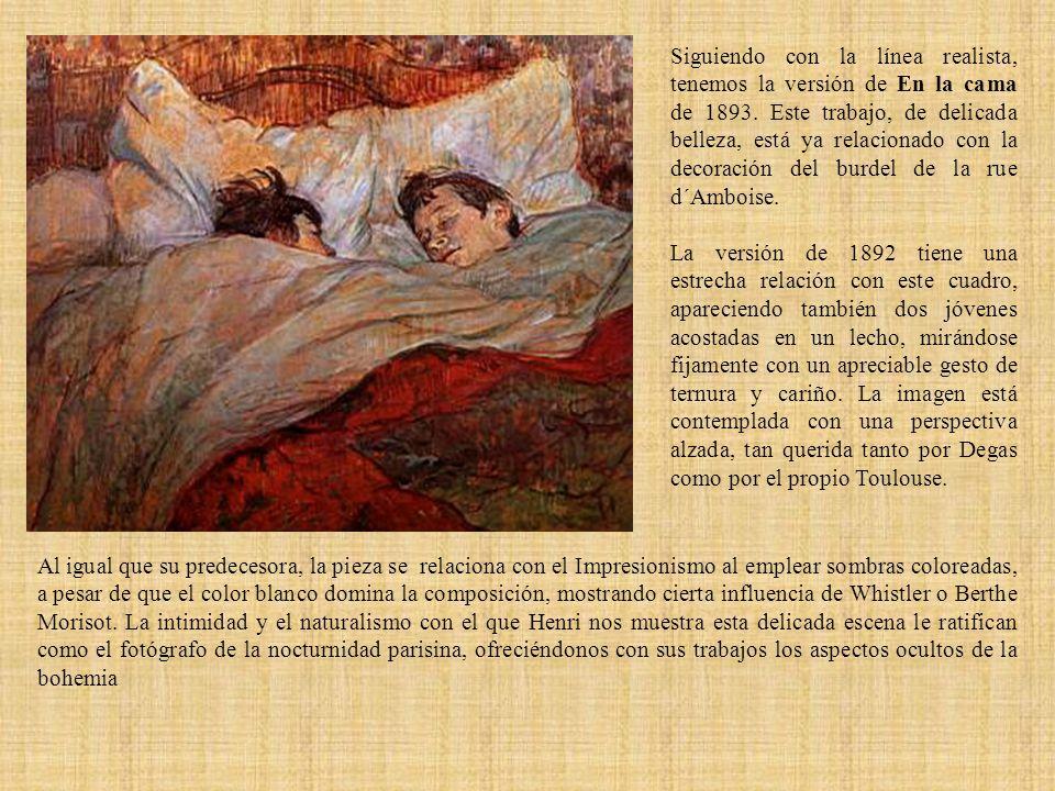 Siguiendo con la línea realista, tenemos la versión de En la cama de 1893. Este trabajo, de delicada belleza, está ya relacionado con la decoración de