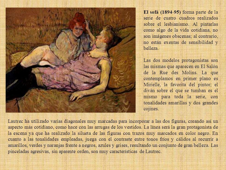 El sofá (1894-95) forma parte de la serie de cuatro cuadros realizados sobre el lesbianismo. Al pintarlas como algo de la vida cotidiana, no son imáge