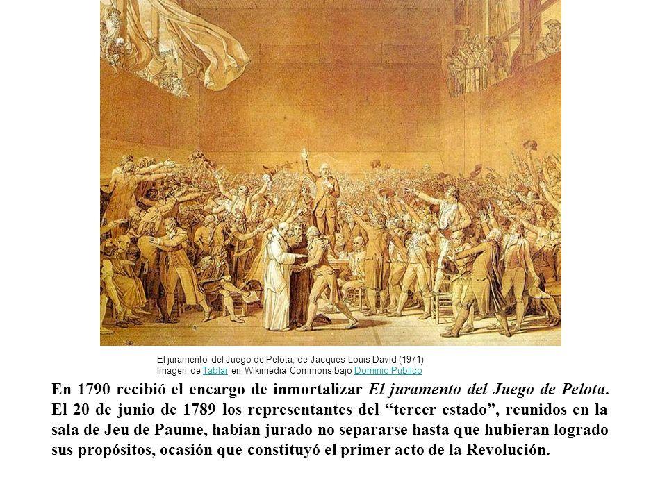 En 1790 recibió el encargo de inmortalizar El juramento del Juego de Pelota. El 20 de junio de 1789 los representantes del tercer estado, reunidos en
