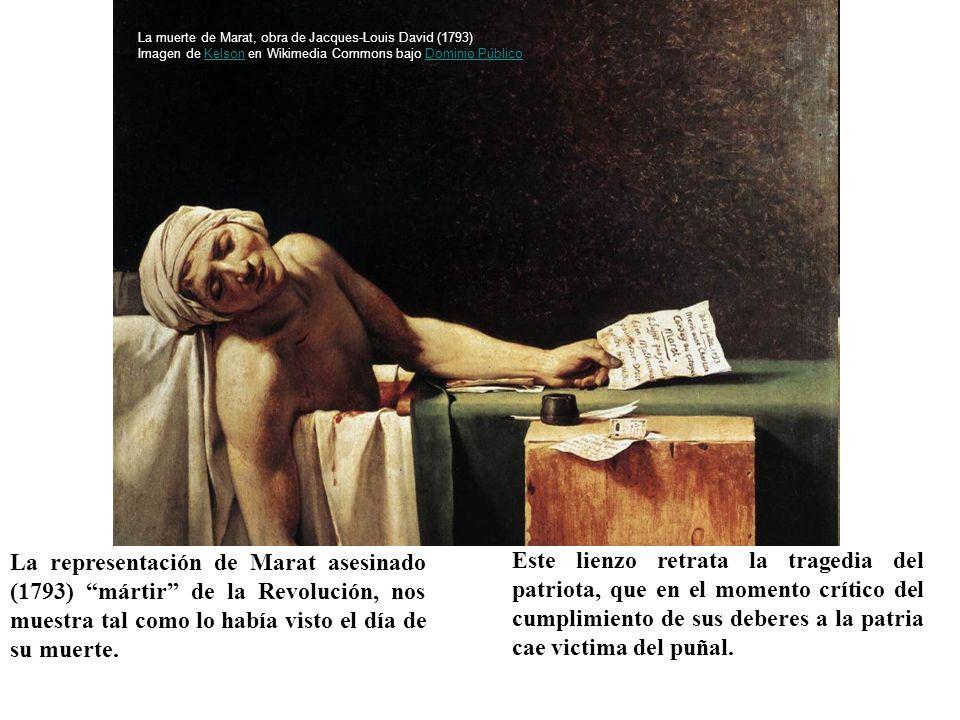 La representación de Marat asesinado (1793) mártir de la Revolución, nos muestra tal como lo había visto el día de su muerte. Este lienzo retrata la t
