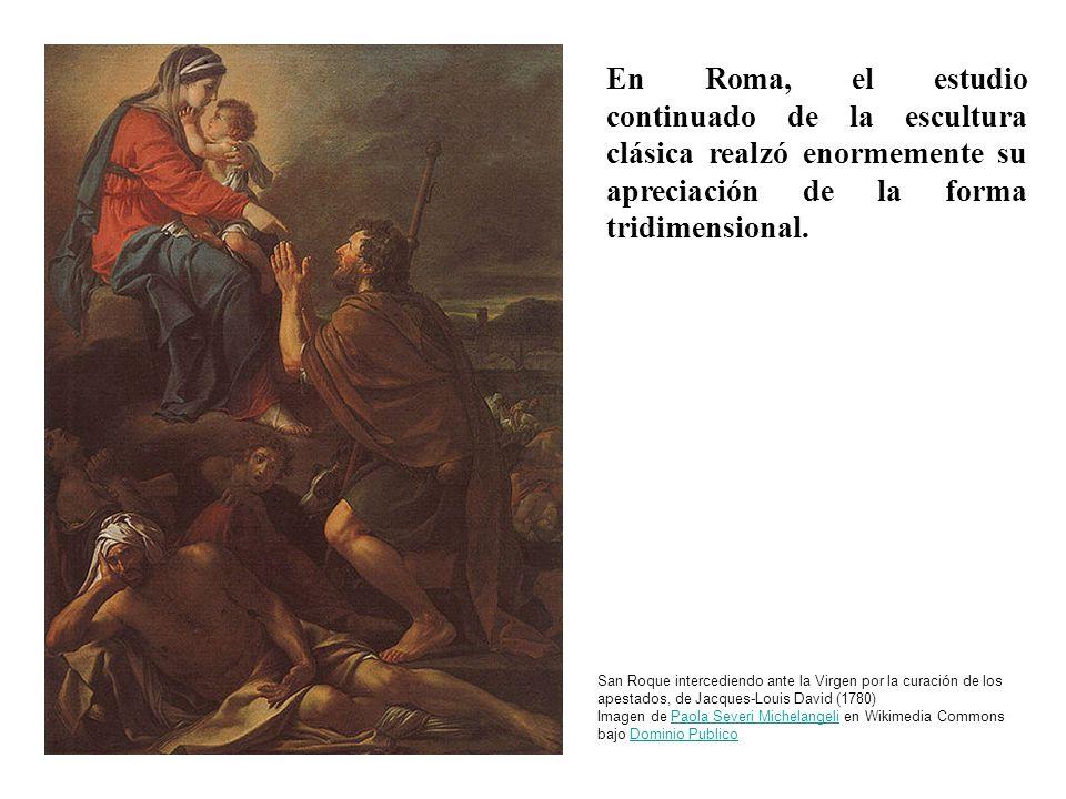 En Roma, el estudio continuado de la escultura clásica realzó enormemente su apreciación de la forma tridimensional. San Roque intercediendo ante la V
